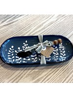 Mud Pie Blue Leaf Mini Dish Set
