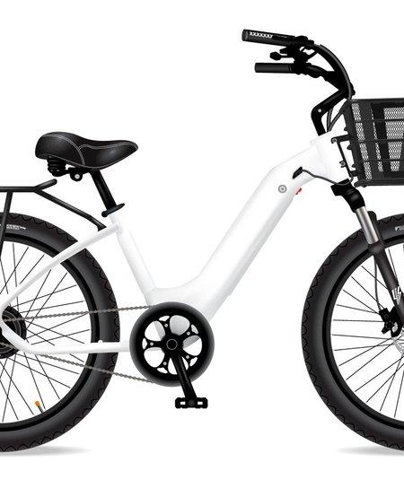Model R White W/Rear Rack SLV Front Basket