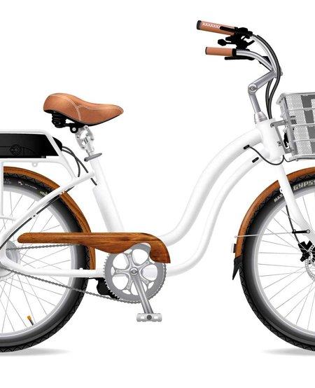 Model S White Wooden Chain Guard Fenders SLV Basket