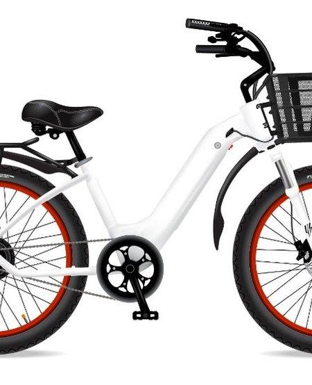 Model R White W/ Blk Fenders Basket Rack Red Rims