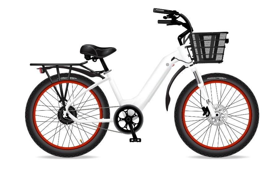 Electric Bike Company Model R White W/ Blk Fenders Basket Rack Red Rims