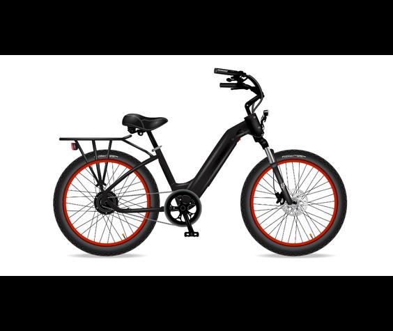Electric Bike Company Model R Black W/Rear Rack Red Rims No Basket