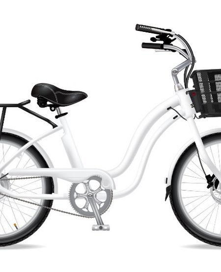 Model M White 7Speed W/ Blk Fenders Chain Guard Front Basket Rear Rack Double Saddle Bags