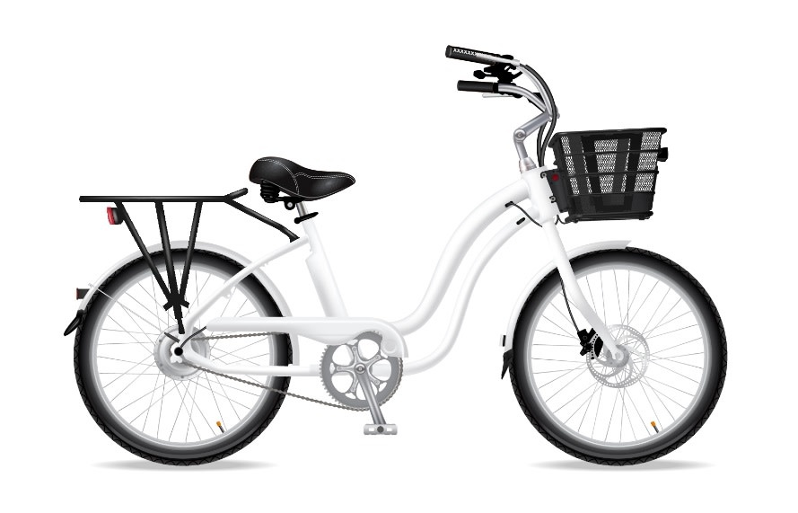 Electric Bike Company Model M White 7Speed W/ Blk Fenders Chain Guard Front Basket Rear Rack Double Saddle Bags
