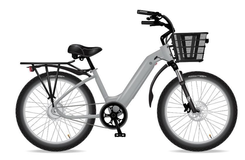 Electric Bike Company MODEL R Silver Fox Fenders Rack Basket Susp Seat 7SP 30Ah