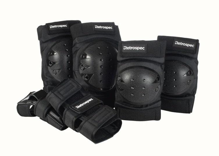 Retrospec Knee and Elbow Pads & Wrist Guards Black & White