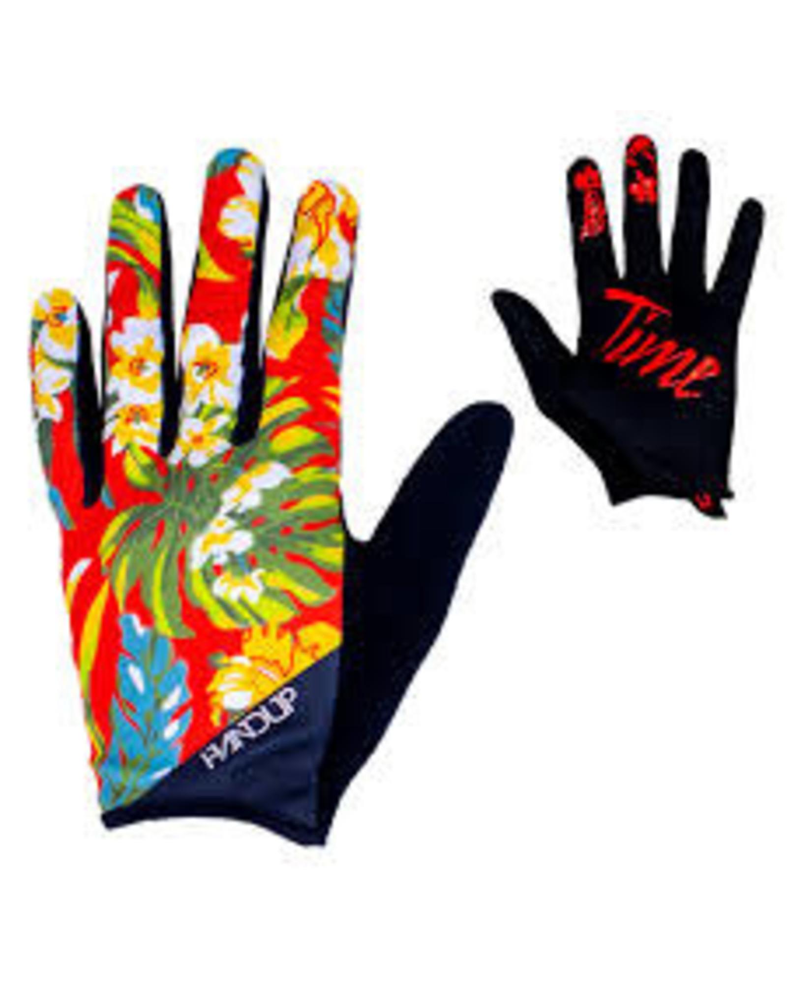 Glove Handup Red Floral Medium