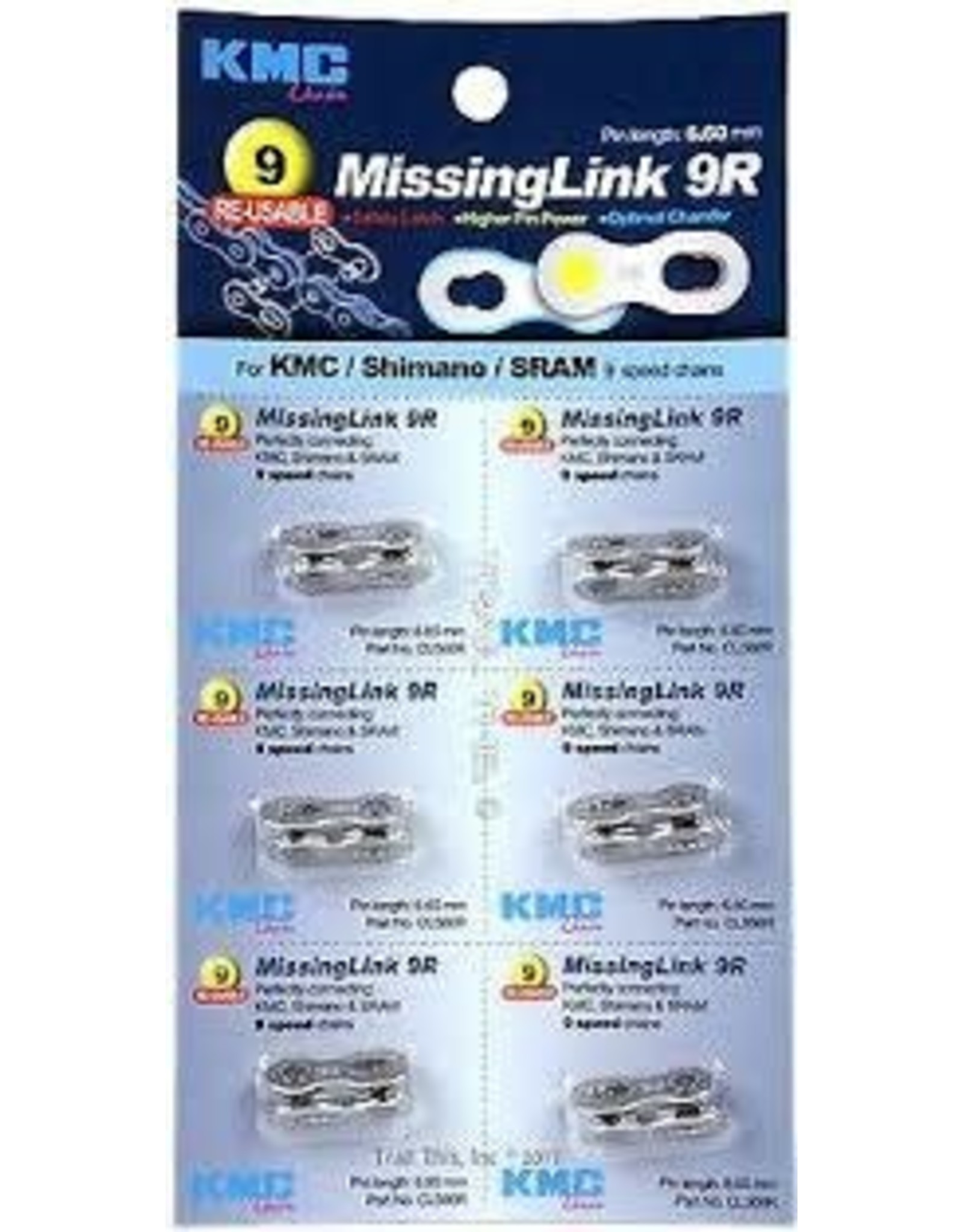 KMC Chain KMC Missing Link Fits 6.6mm (9-speed) Chains Card of 6