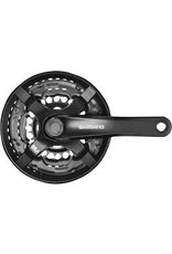 Shimano Crank Shi Tourney FC-TY501 175mm 6/7/8-Speed 48/38/28t, Riveted, Square Taper JIS Spindle Interface, Black