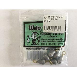Water Gremlin Dipsy swivel sinkers 3/16oz