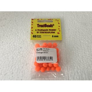 Troutbeads.com Trout Beads Brand Flouro Orange 8mm