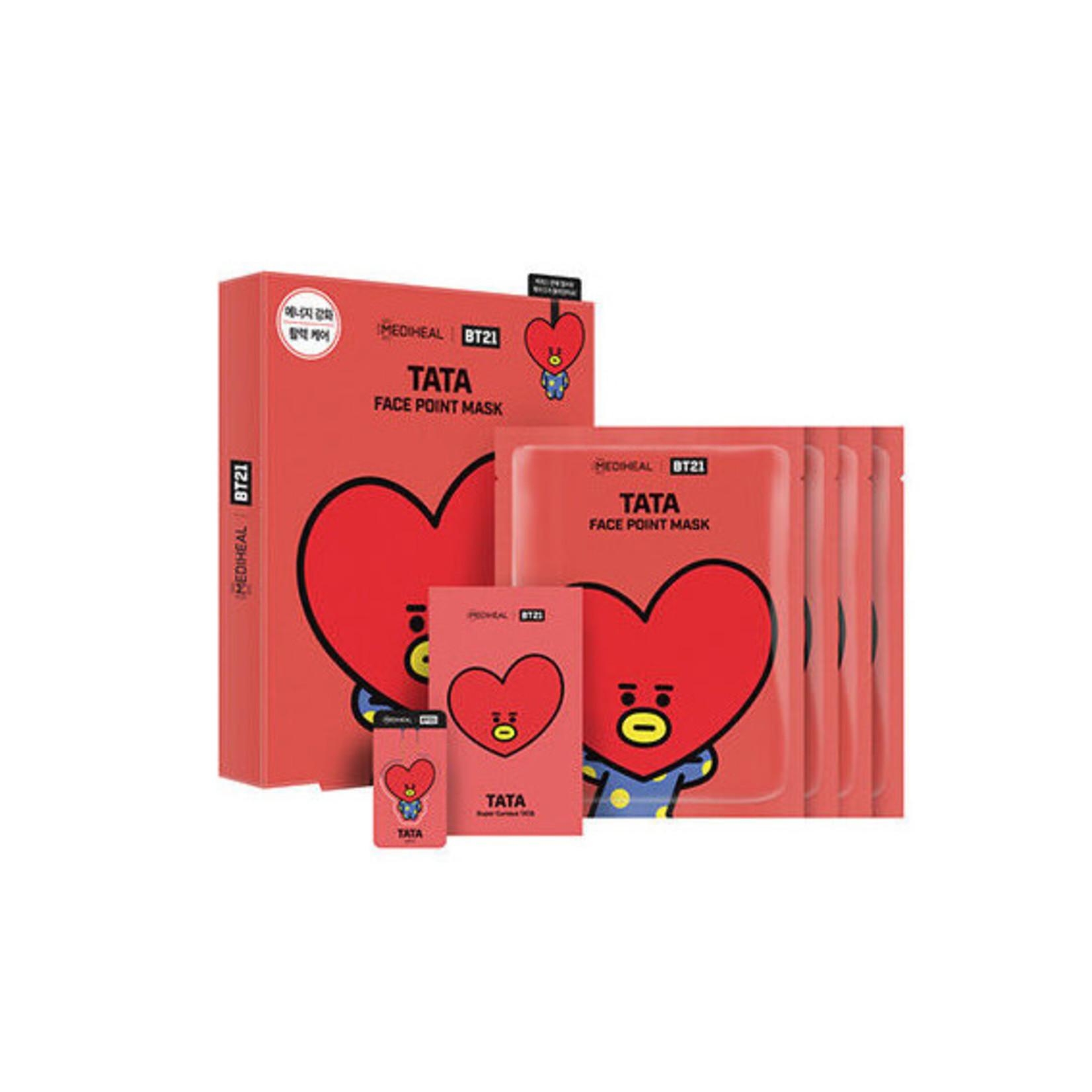 BT21 Face Point Mask Tata Box 4 Sheets