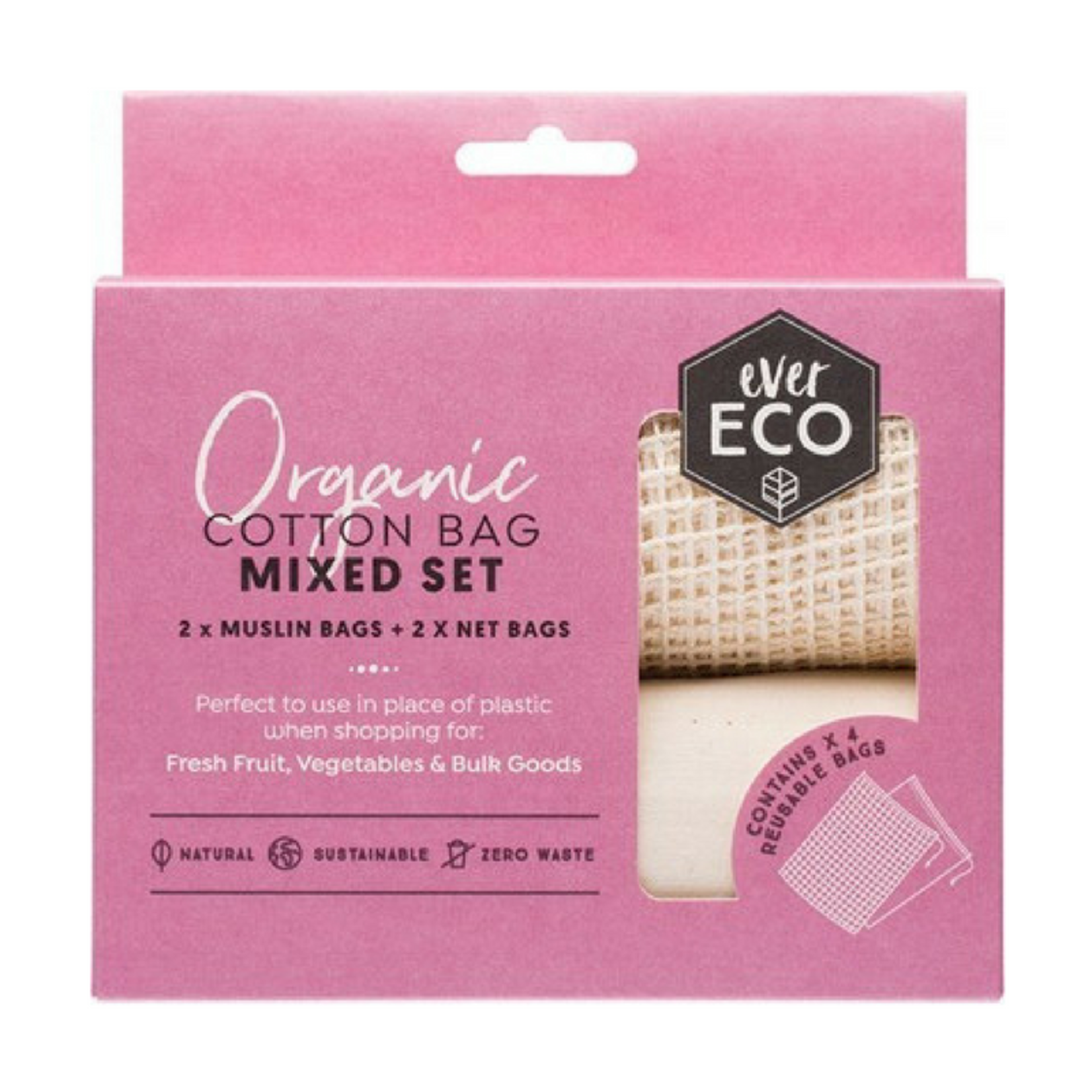 Ever Eco Ever Eco Produce Bag Organic Cotton Mixed Set 4PK