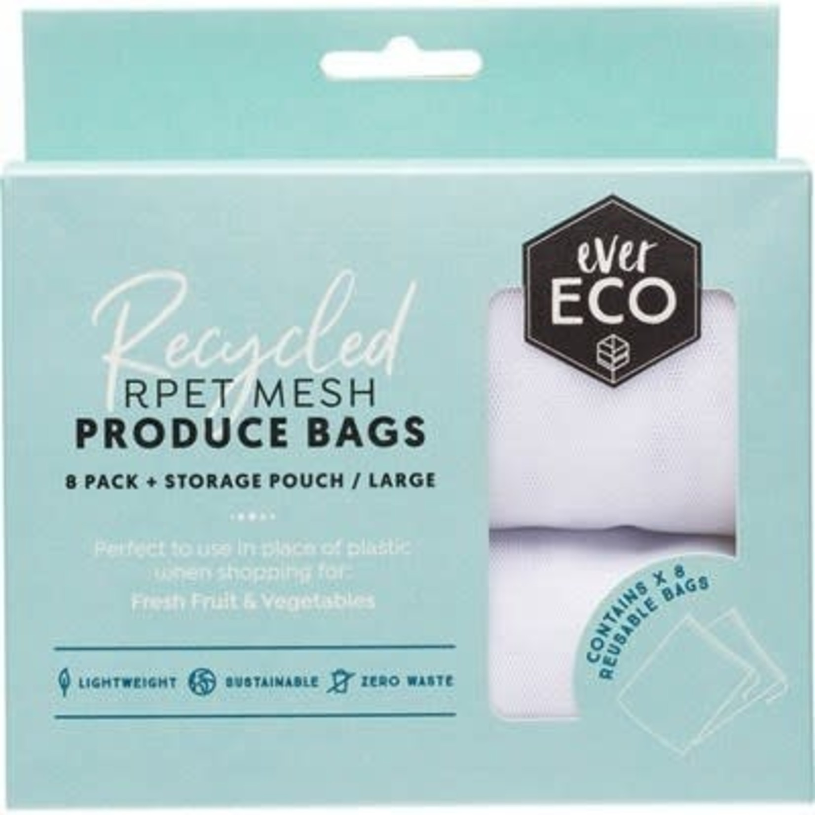 Ever Eco Ever Eco Produce Bags 8pk Recycled Polyester Mesh