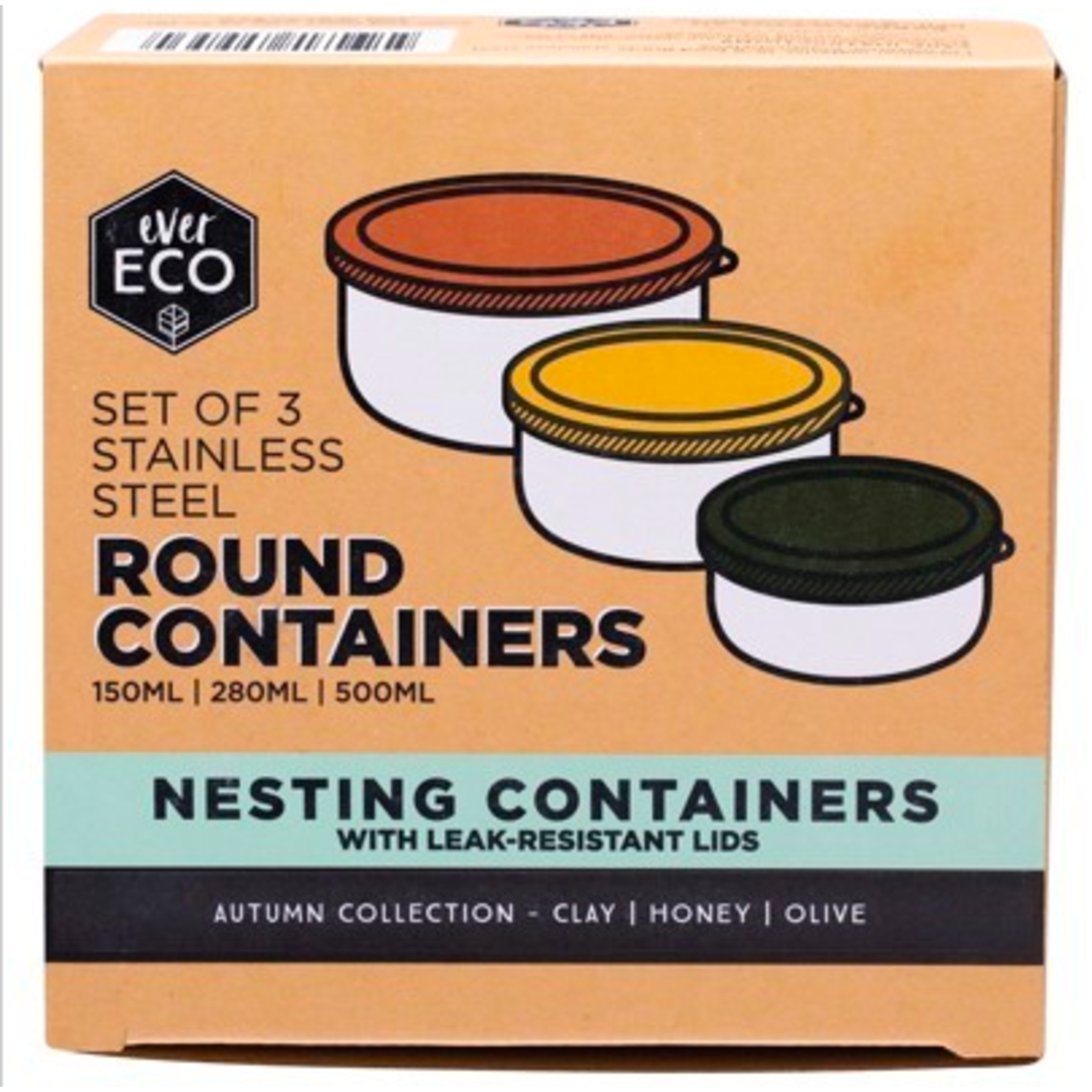 Ever Eco Ever Eco Round Containers 3pk - Autumn