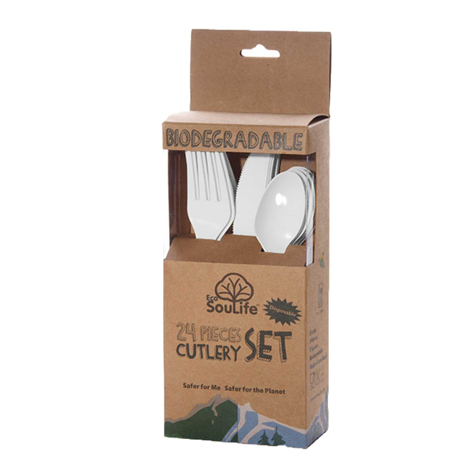 EcoSoulife EcoSoulife Cornstarch disposable cutlery set 24pc