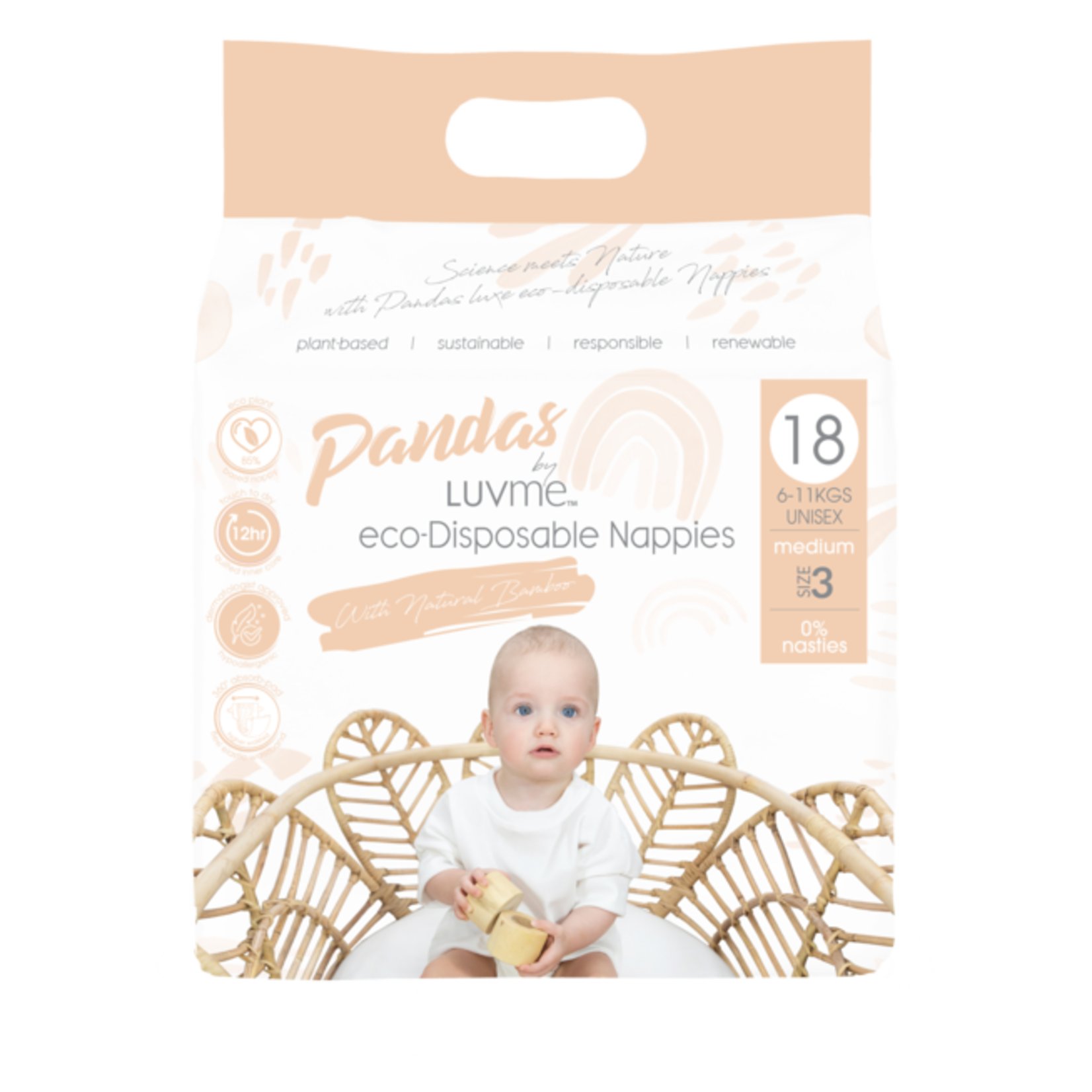 Luvme Luvme Panda Bamboo Disposable Nappies Size 3 Medium 18pk