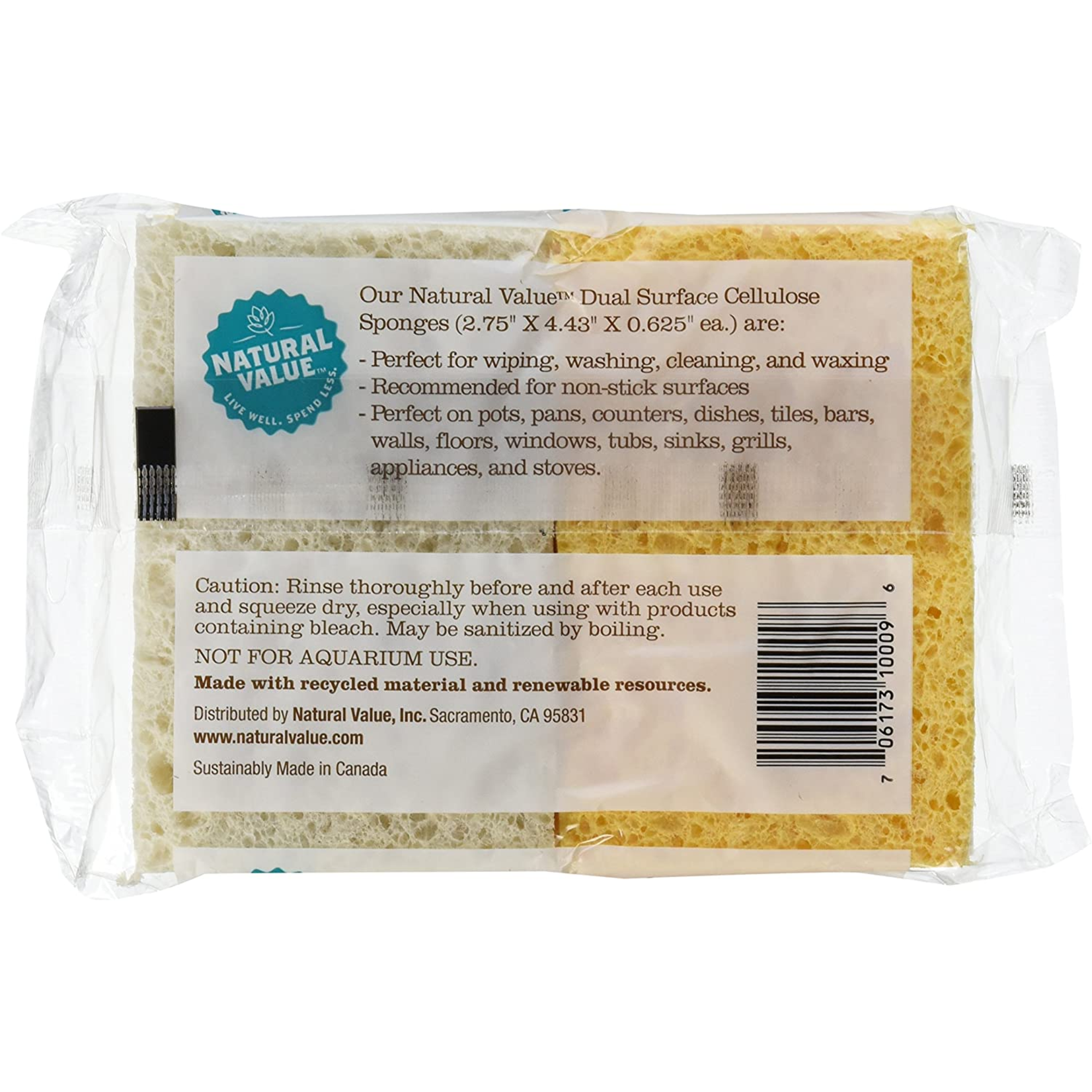 Natural Value Natural Value Dual Surface Cellulose Sponge - 4pk