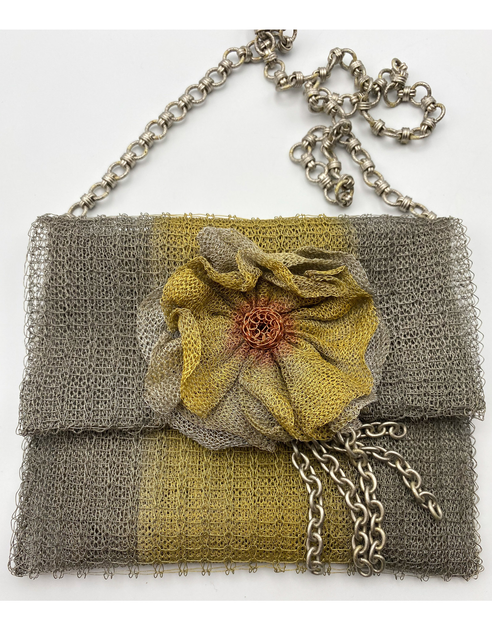 Metal Mesh Evening Bag with Silver Chain
