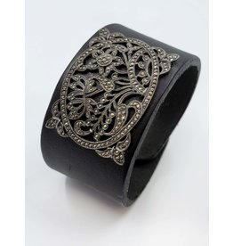 1910s Floral Brooch Leather Cuff Bracelet