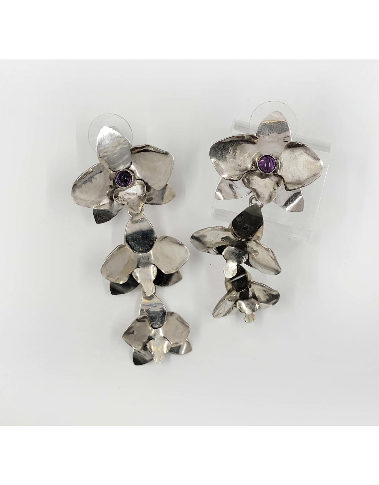 Geoflora Jewelry Geoflora Triple Orchid Amethyst Earrings