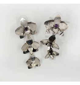Geoflora Jewelry Geoflora Triple Orchid Amethyst Earrings