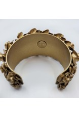 Metal Gold Bangle Bracelet with Rosette Motif