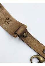 Gold Leather Bracelet with Curved Metal