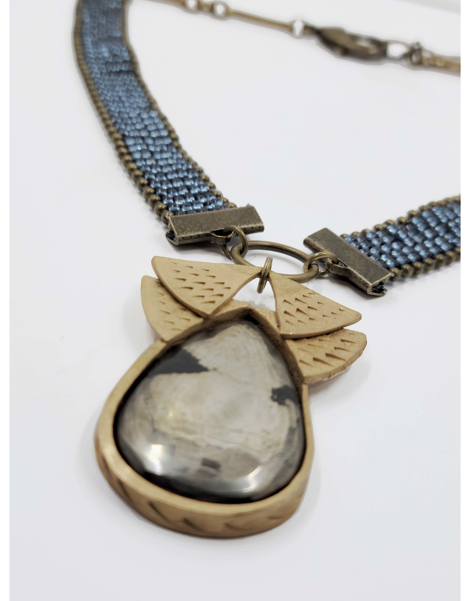 Slate Blue Beaded Necklace with Gray Pendant