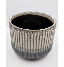 Stripe Texture Two Toned Pot