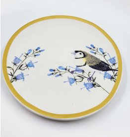 Bird and Flower Yellow Rimmed Plate