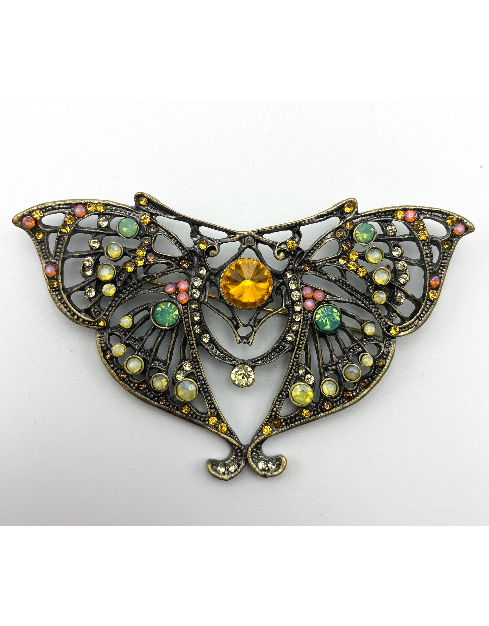 Metal Butterfly Pin with Crystals