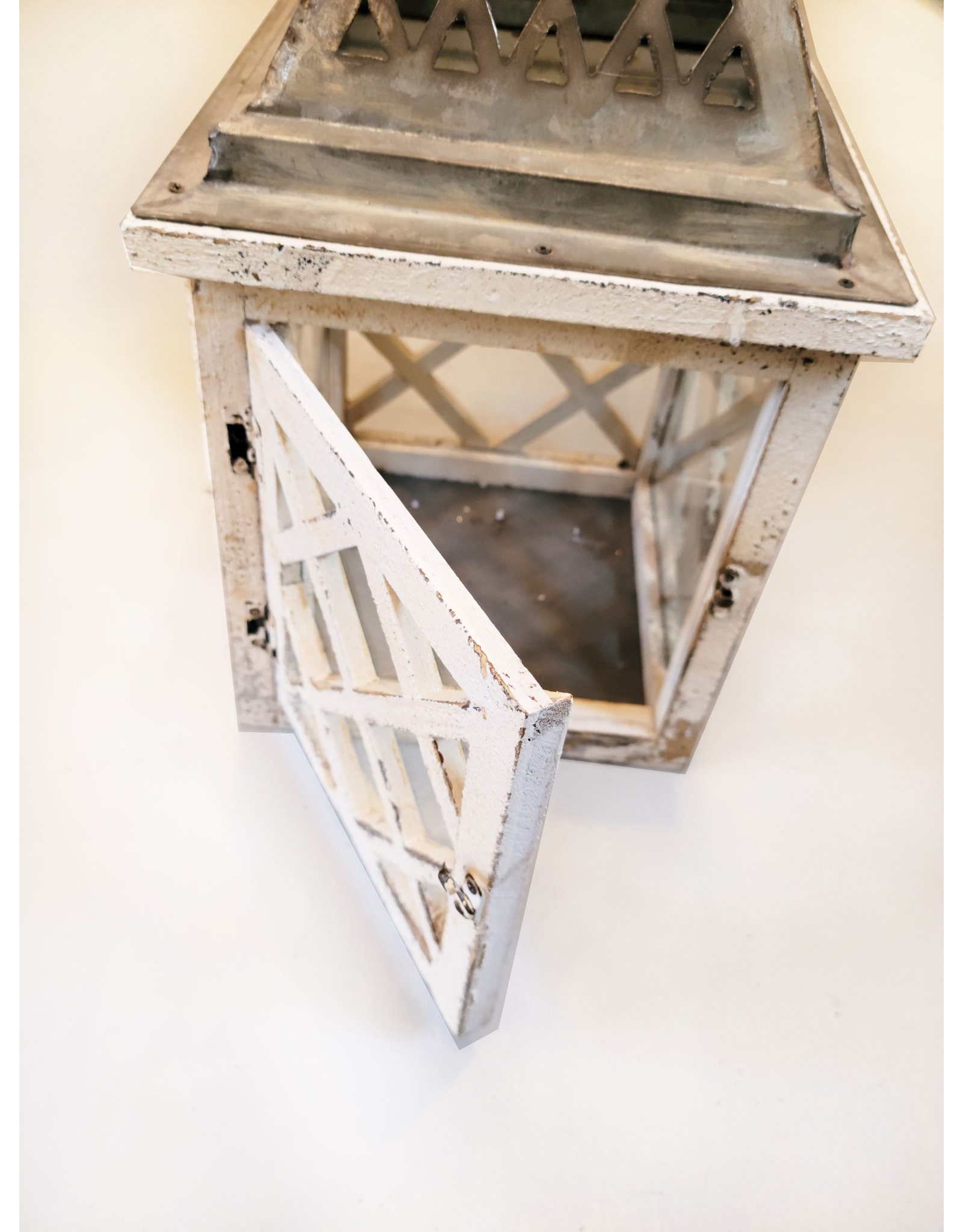 One Hundred 80 Degrees White and Silver Distressed Wood Lantern