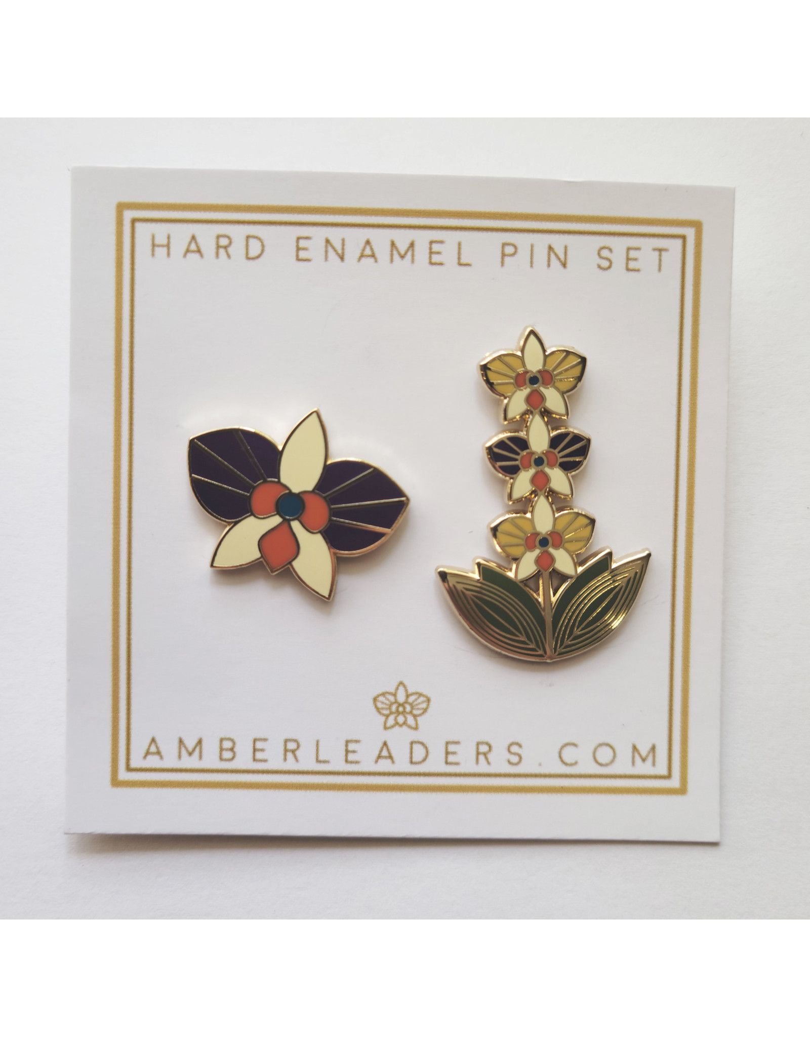 Amber Leaders Designs Orchid Pin Set