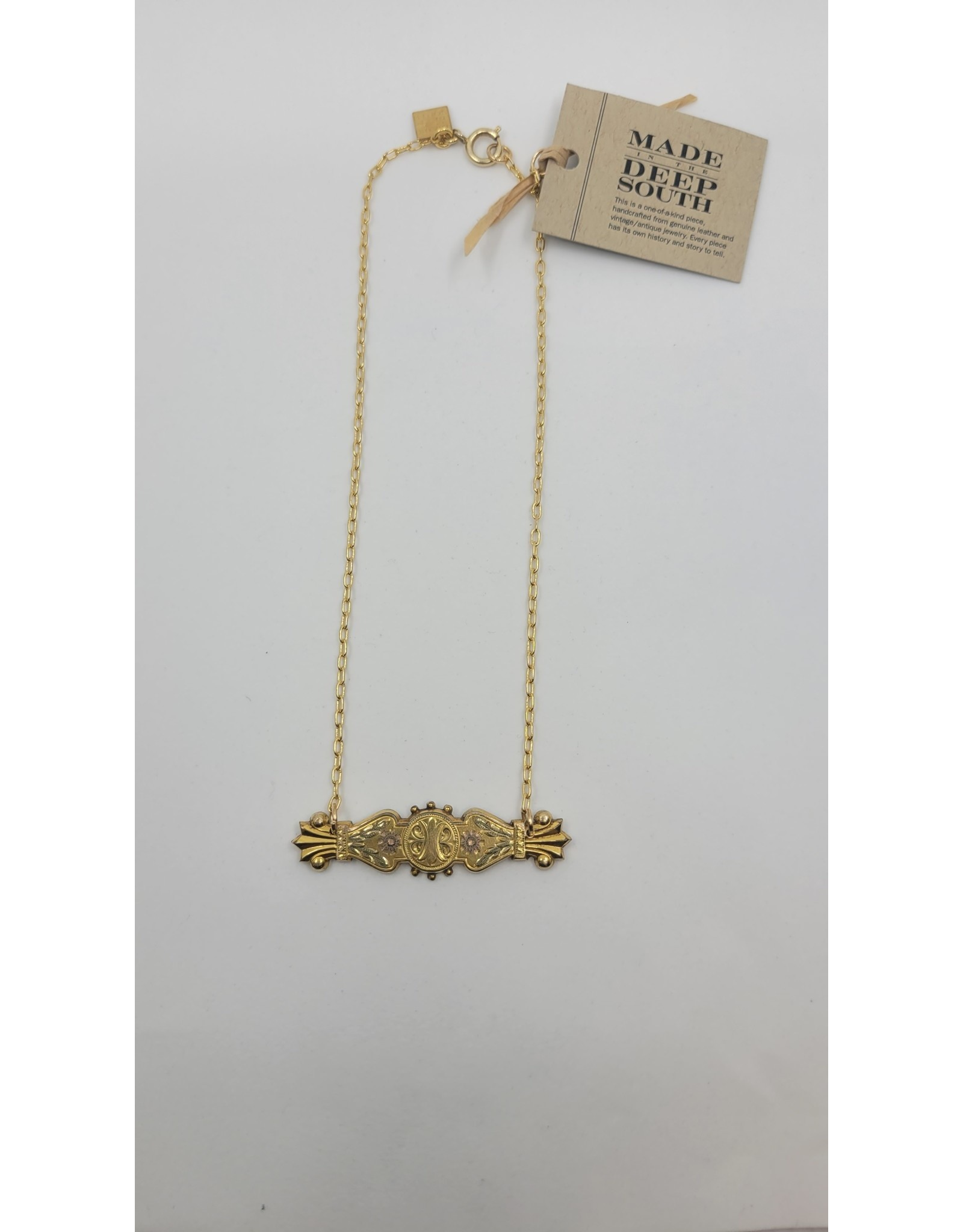 1800s Bar Pin on 1960s Chain Necklace