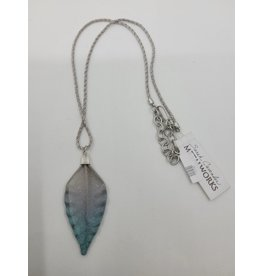 Purple and Blue Leaf Necklace