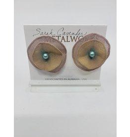 Brown Metal Mesh Earrings with Aqua Bead