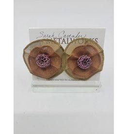 Gold Flower Metal Mesh Earrings with Plum Center