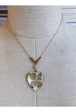 Vintage Pressed Clover Heart Necklace