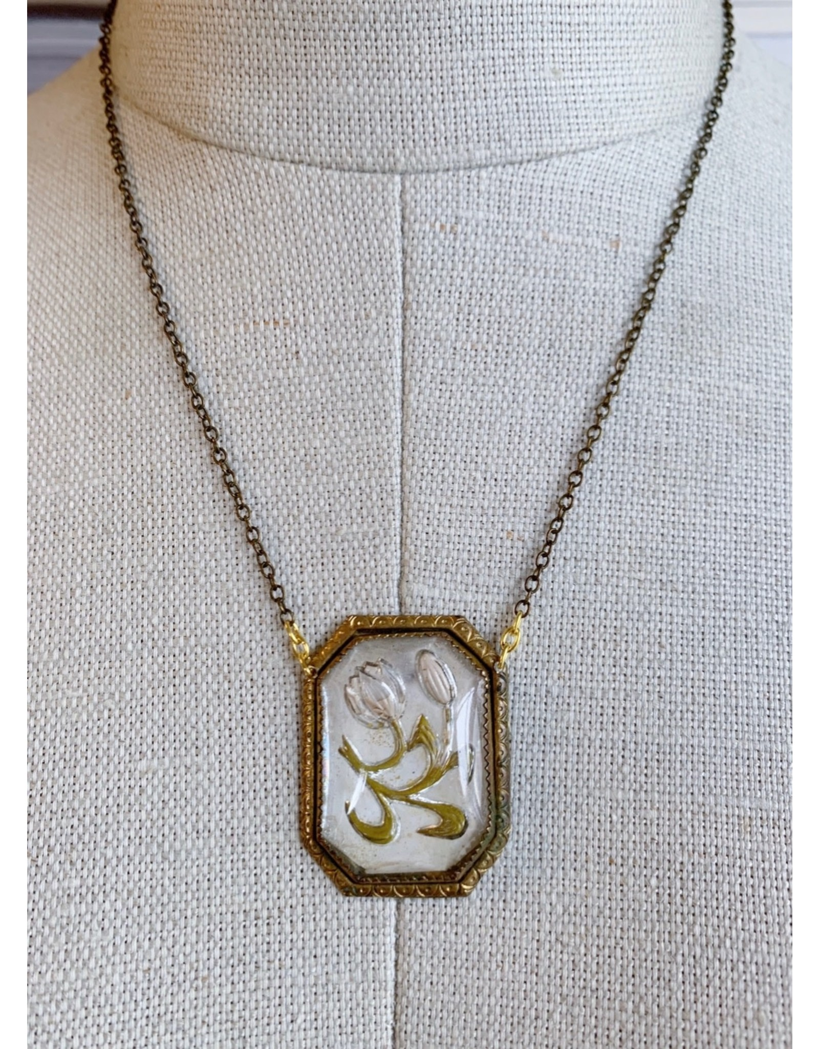 Victorian Glass Bellflower Necklace