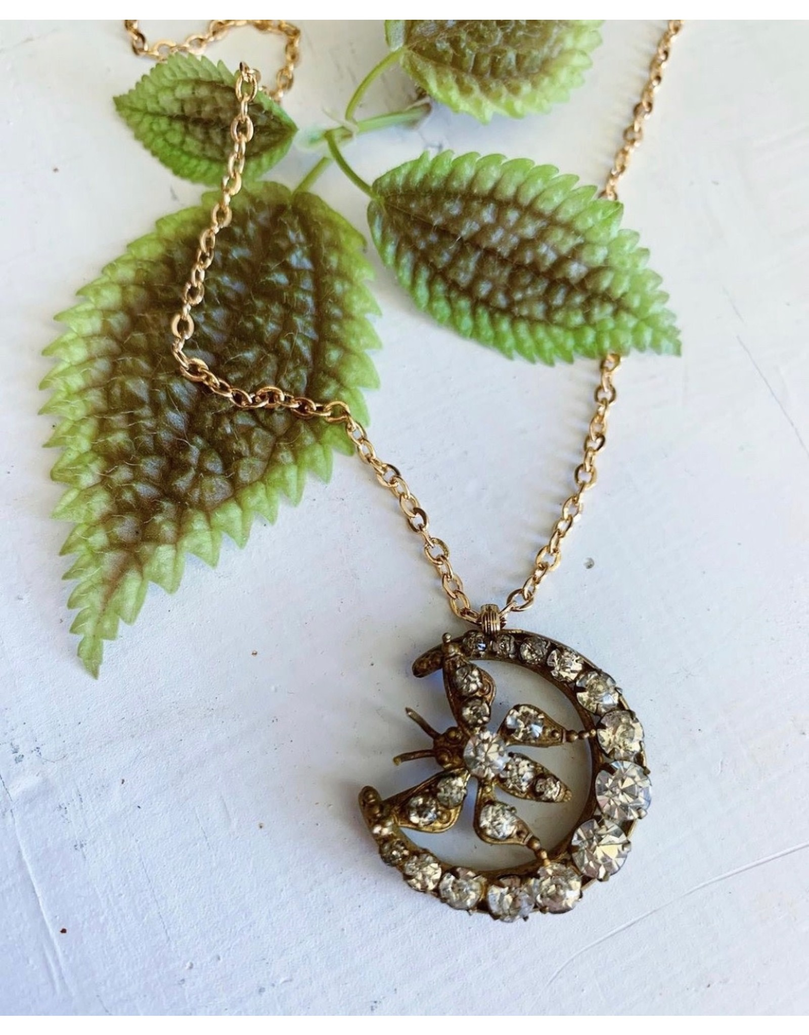 Victorian Butterfly and Moon Necklace