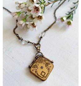 Art Nouveau Floral Locket Necklace