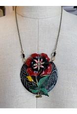 Vintage Red Floral Brooch Necklace
