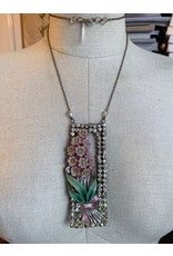 Vintage Floral Brooch and Rhinestone Buckle Necklace