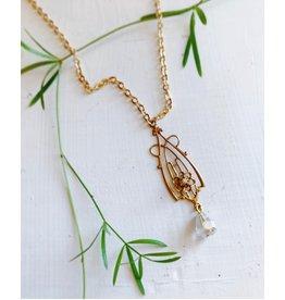 Art Deco Floral Pendant Necklace