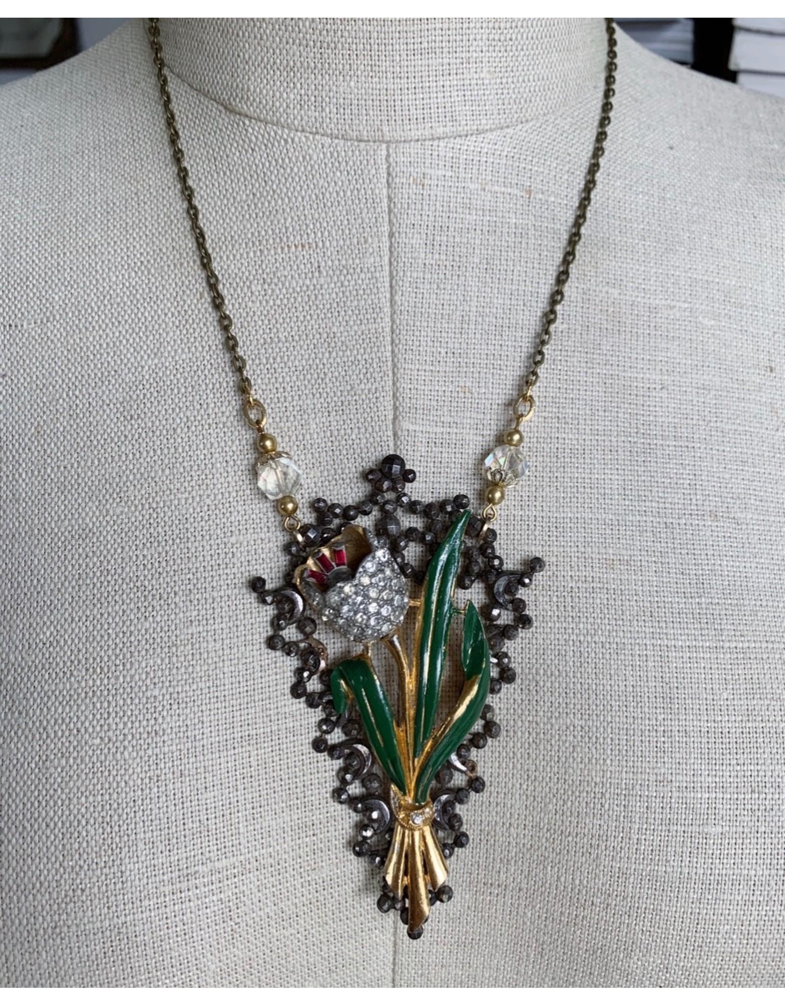 Vintage Floral Brooch and Buckle Necklace