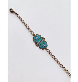 Vintage Floral Enamel Buckle Bracelet