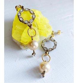 Vintage Circle Rhinestones and Pearls Earrings