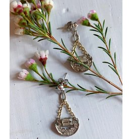 Art Deco Crescent Drops Earrings