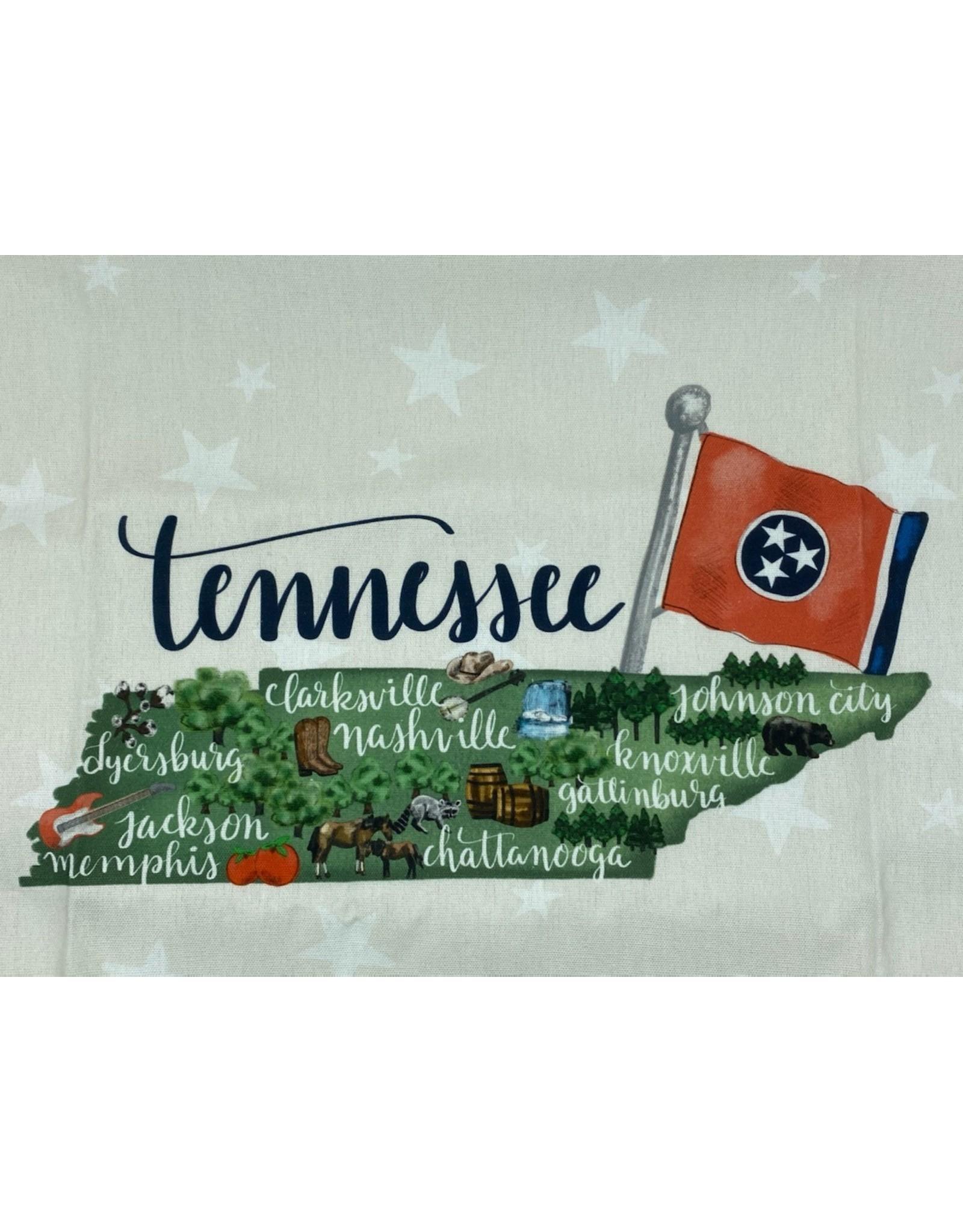 Green Box TN State Map Tea Towel